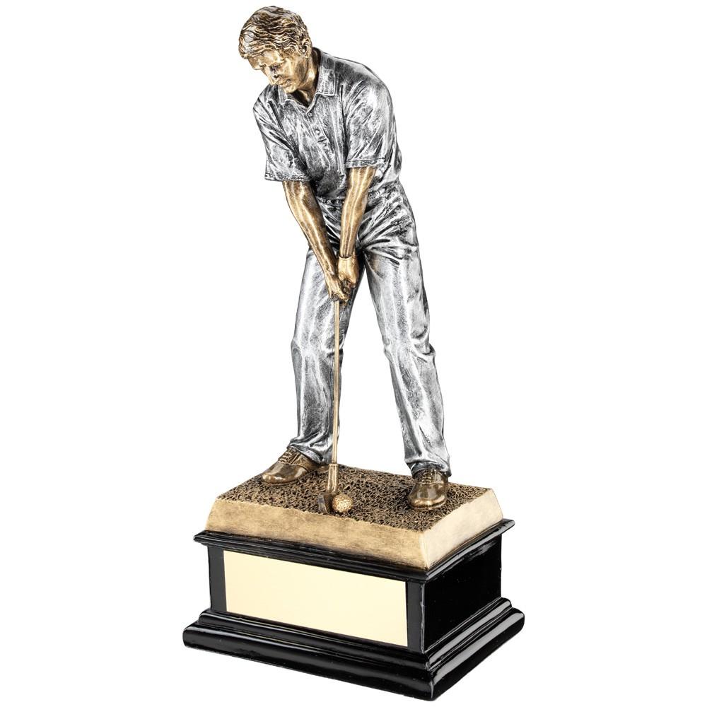 'Start Of Swing' Golfer On Black Base Trophy
