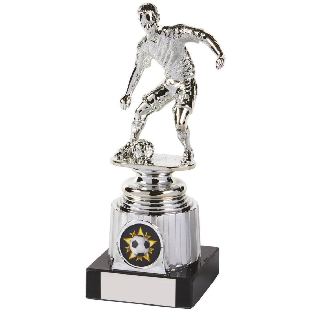 Silver Football Figure on Marble Base