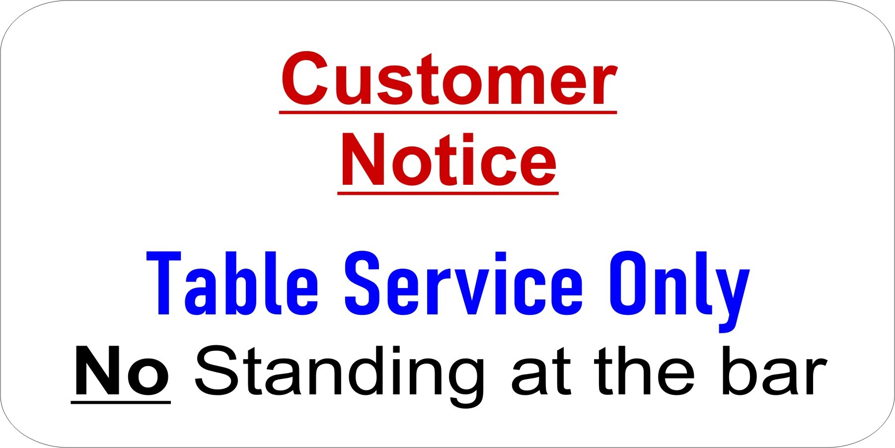 TABLE SERVICE (Example Sign)