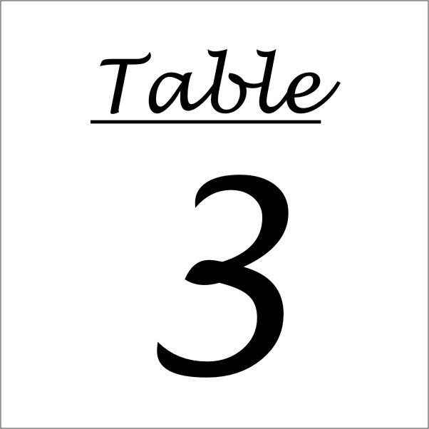TABLE NUMBER (Example Sign)