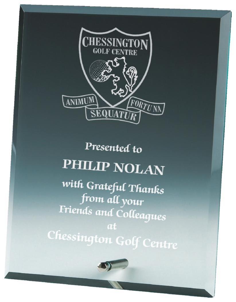 Jade Glass Plaque Award