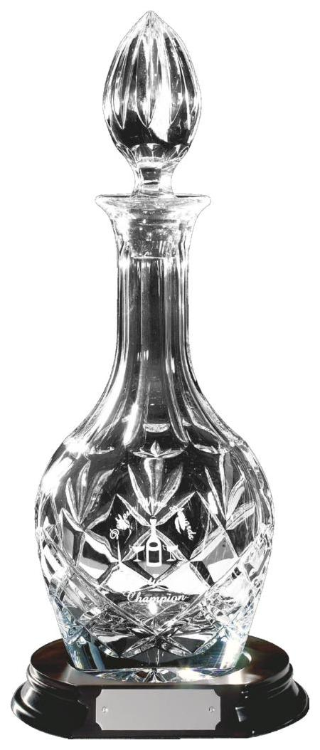 Cut Crystal Wine Decanter with Panel for Engraving