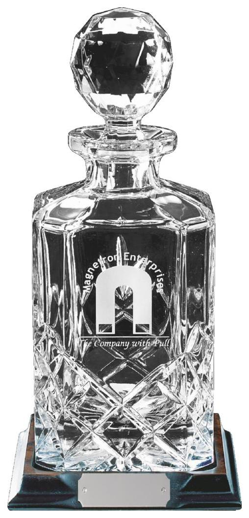 Cut Crystal Spirit Decanter with Panel for Engraving