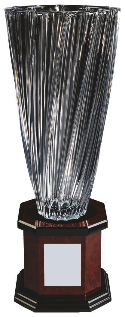 """Crystalite """"Twist"""" Vase on Wood Base"""