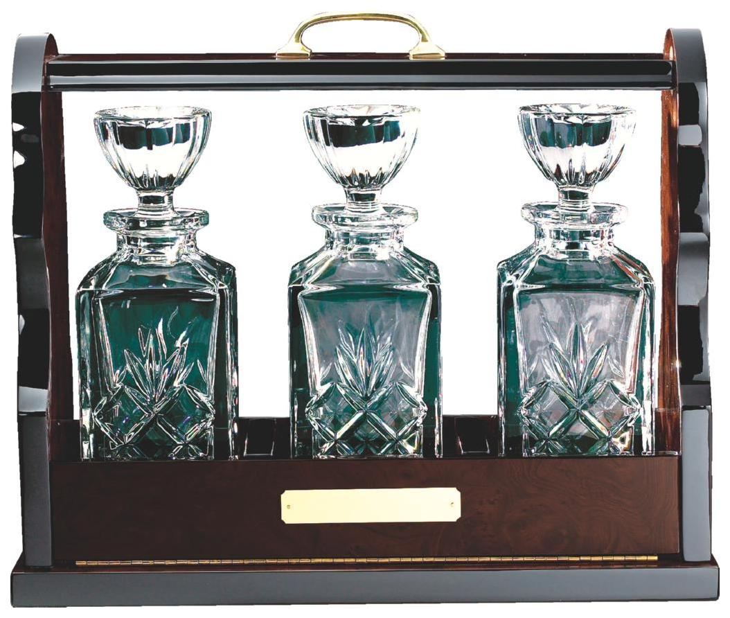 Wood Tantalus with 3 Spirit Decanters