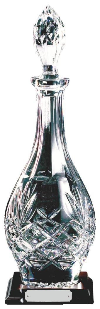 Cut Crystal Bulb Decanter on Wood Stand