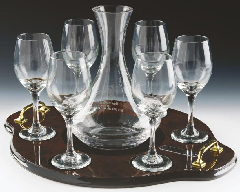 Glass Wine Decanter with 6 Glasses on Wood Tray