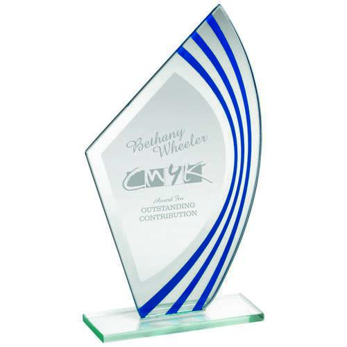 Jade Glass Sail Plaque With Blue/Silv Highlights (5mm Thick)