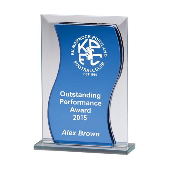 Azzuri Wave Mirror Glass Award Blue & Silver
