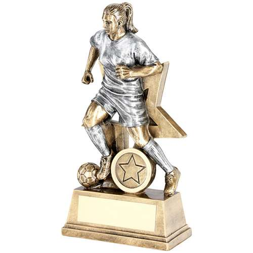 Brz/Pew Female Football Figure With Star Backing Trophy ( Centre)