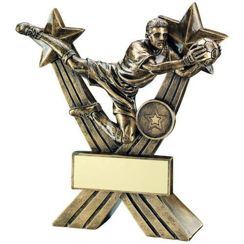 Goalkeeper Figure On Crossed Stars Trophy