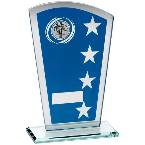 Blue/Silver Printed Glass Shield With Football Insert Trophy