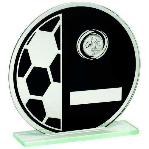 Jade Glass Round Football Plaque (Black/Silv) Trophy