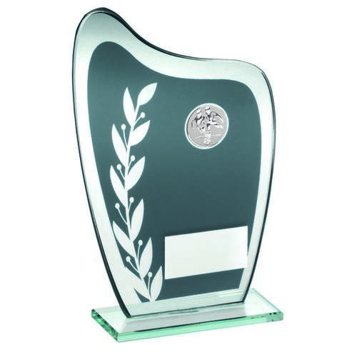Grey/Silver Glass Plaque With Football Insert Trophy