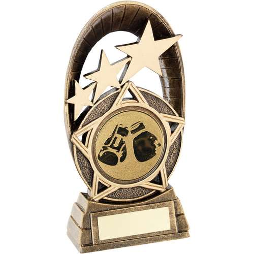 Brz/Gold Generic Tri-Star Oval With Boxing Insert Trophy