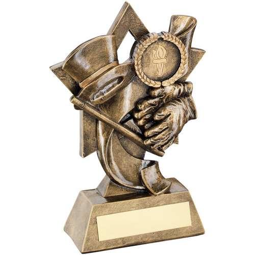 Brz/Gold Top Hat/Gloves/Cane On Star Backdrop Trophy ( Centre)