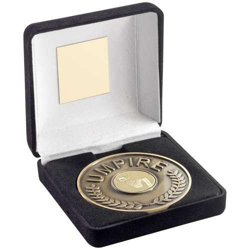 Black Velvet Box And 70mm Umpire Medallion With Netball Insert