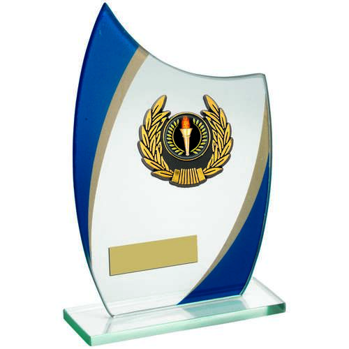 Jade/Blue/Gold Curved Glass With Gold/Blk Wreath Trim Trophy