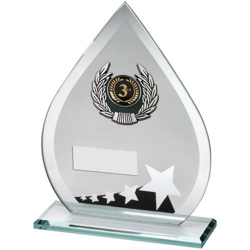 Jade/Blk/Silv Glass Teardrop Plaque With Silv/Blk Trim Trophy
