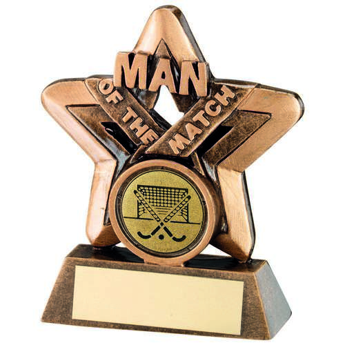 Man Of The Match Mini Star With Hockey Insert Trophy