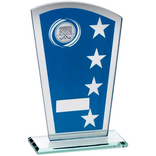 Blue/Silver Printed Glass Shield With Hockey Insert Trophy