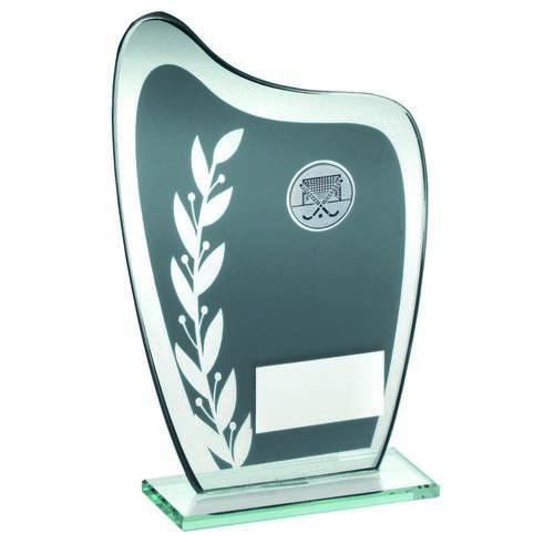 Grey/Silver Glass Plaque With Hockey Insert Trophy