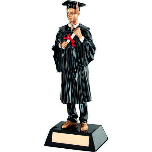 Blk/Gold Resin Male Graduate Trophy