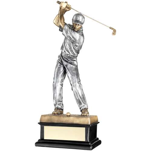 'Back Swing' Golfer On Black Base Trophy
