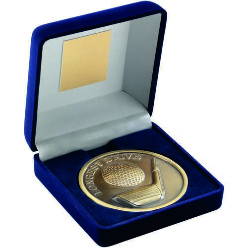 Blue Velvet Box And 70mm Medallion Golf  Longest Drive