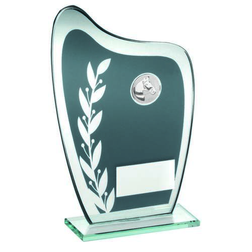 Grey/Silver Glass Plaque With Horse Insert Trophy