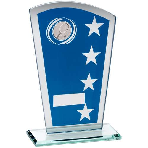 Blue/Silver Printed Glass Shield With Tennis Insert Trophy