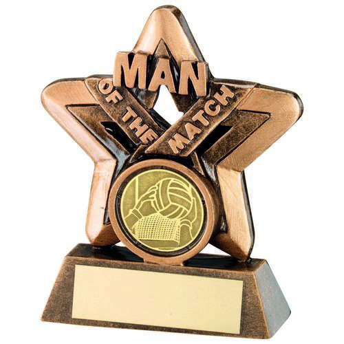 Brz/Gold Man Of The Match Mini Star With Gaelic Football Insert Trophy