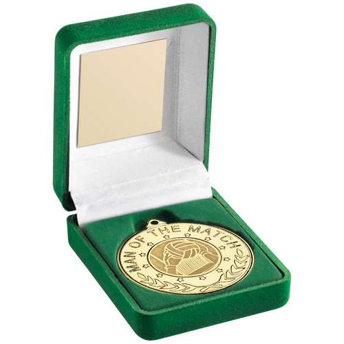 Green Velvet Box And 50Mm Medal With Gaelic Football Insert 'M.O.T.M' Trophy G