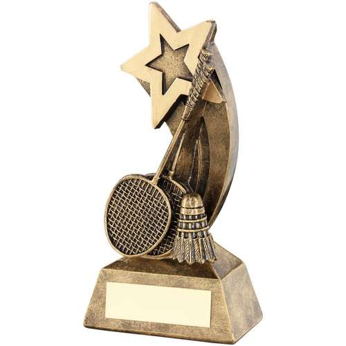 Brz/Gold Badminton Rackets/Shuttlecock With Shooting Star Trophy