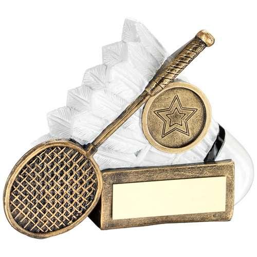 Badminton Shuttlecock And Racket Chunky Flatback Trophy