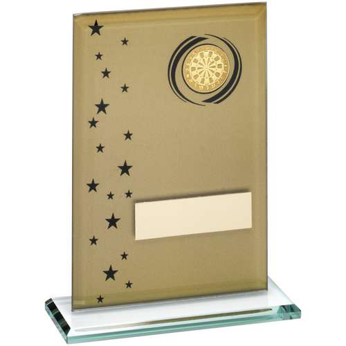 Gold/Black Printed Glass Rectangle With Darts Insert Trophy