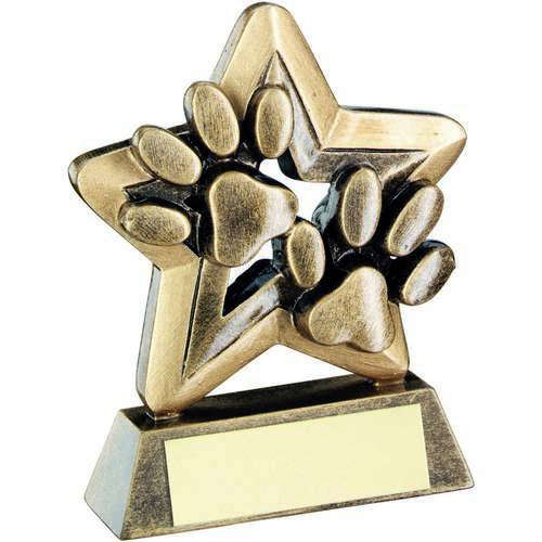 Brz/Gold Dog Paws Trophy Mini Star Trophy