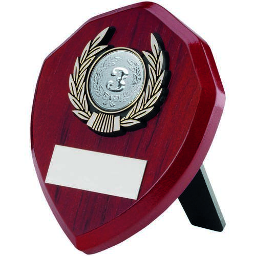 Rosewood Shield And Silver Trim Trophy