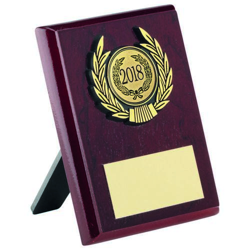 Rosewood Plaque And Gold Trim Trophy