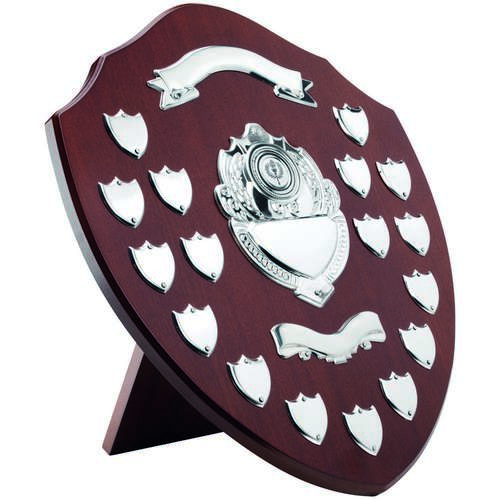 Mahogany Shield With Chrome Fronts And 17 Record Shields