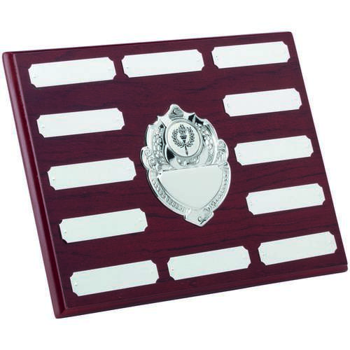 Rosewood Plaque With Chrome Fronts And 12 Plates