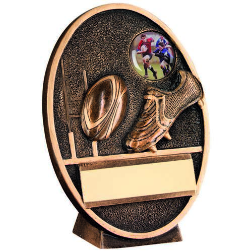 Rugby Ball And Boot Oval Plaque Trophy