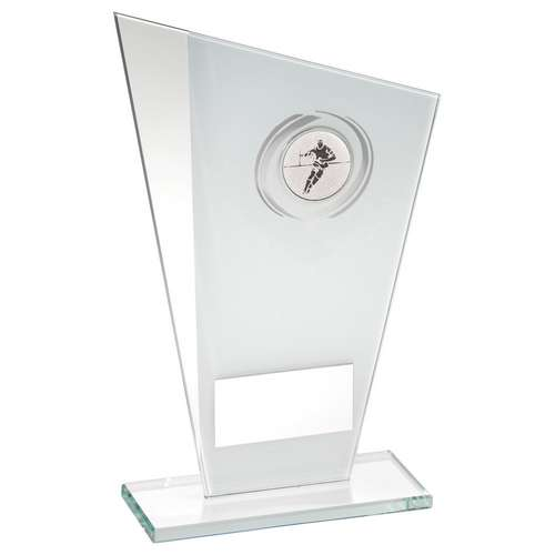 White/Silver Printed Glass Plaque With Rugby Insert Trophy