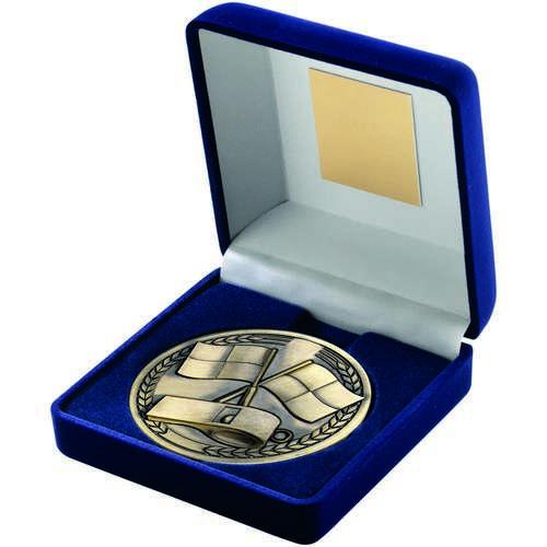 Blue Velvet Box And Medallion Referee Trophy
