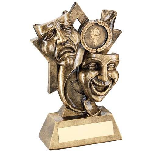 Brz/Gold Drama Masks On Star Backdrop Trophy ( Centre)