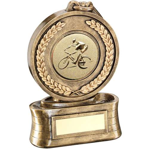 Brz/Gold Medal And Ribbon With Cycling Insert Trophy