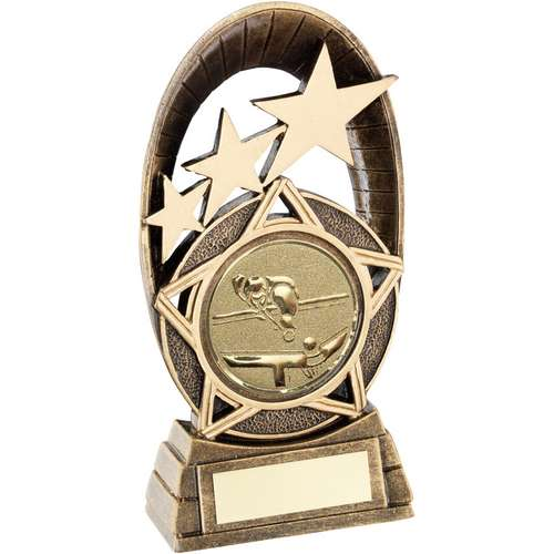 Brz/Gold Generic Tri-Star Oval With Pool/Snooker Insert Trophy