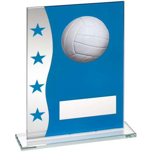 Blue/Silver Printed Glass Plaque With Volleyball Image Trophy