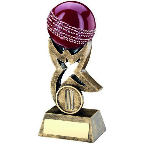Brz/Gold/Red Cricket Ball On Star Riser Trophy ( Centre)
