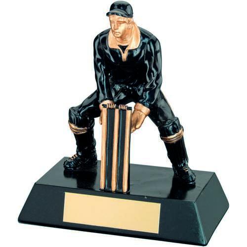 Blk/Gold Resin Cricket Wicketkeeper Trophy